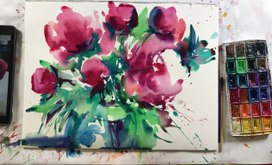 Beautiful peony. Watercolor and grafic
