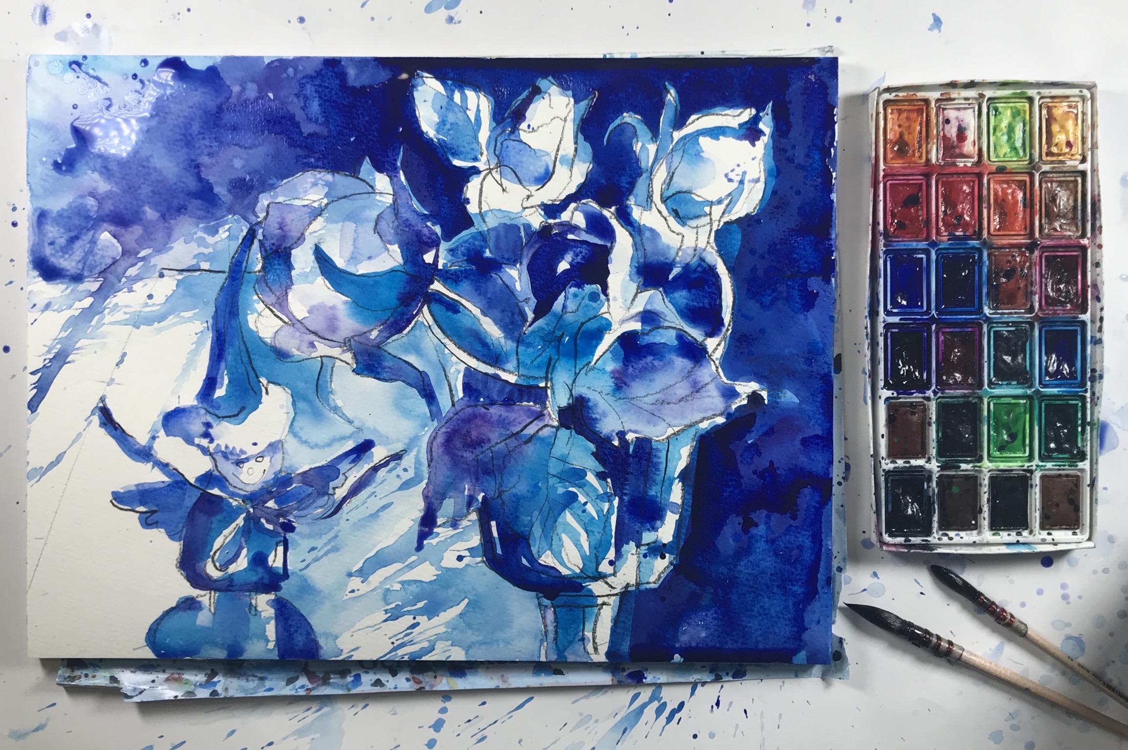 Синие композиции. Акварель (эмоциональные творческие работы в технике акваграфики)