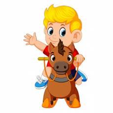Lindo niño rubio en un caballo de juguete | Vector Premium