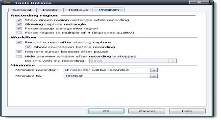 Вкладка Program окна Tools Options