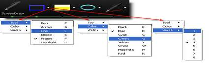 Изменяем характер пометки ScreenDraw: форму, цвет и толщину