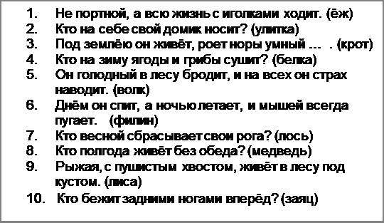 Надпись: 1.Не портной, а всю жизнь с иголками ходит. (ёж) 2.Кто на себе свой домик носит? (улитка) 3.Под землёю он живёт, роет норы умный …  . (крот) 4.Кто на зиму ягоды и грибы сушит? (белка) 5.Он голодный в лесу бродит, и на всех он страх наводит. (волк) 6.Днём он спит, а ночью летает, и мышей всегда пугает.   (филин) 7.Кто весной сбрасывает свои рога? (лось) 8.Кто полгода живёт без обеда? (медведь) 9.Рыжая, с пушистым хвостом, живёт в лесу под кустом. (лиса) 10.   Кто бежит задними ногами вперёд? (заяц)