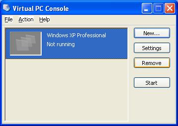 Управляющая консоль Virtual PC