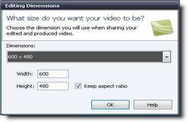 Редактирование разрешения при добавлении видео в проект