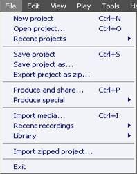Меню File (Файл) главного окна Camtasia Studio
