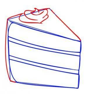 Как нарисовать кусочек торта карандашом поэтапно?