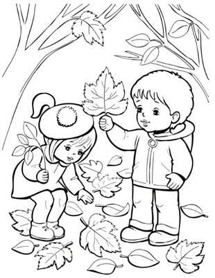 Осень: картинки и раскраски для детей