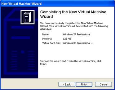 Завершение мастера создания новой виртуальной машины