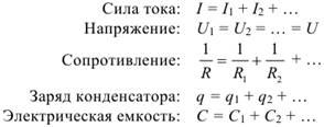 Формула Закономерности параллельного соединения