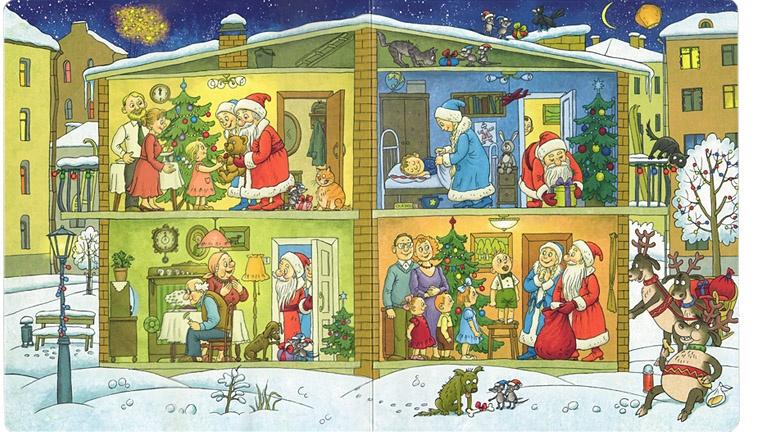 Иллюстрация Ольги Громовой из книги Ольги Дворняковой «Один день из жизни Деда Мороза»