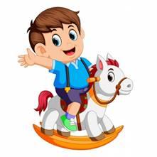 Милый мальчик на игрушечной лошади | Премиум векторы