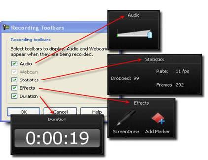 Соответствие пунктов в окне Recording Toolbars разделам в Панели записи во время записи действий с экрана