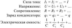 Формула Закономерности последовательного соединения