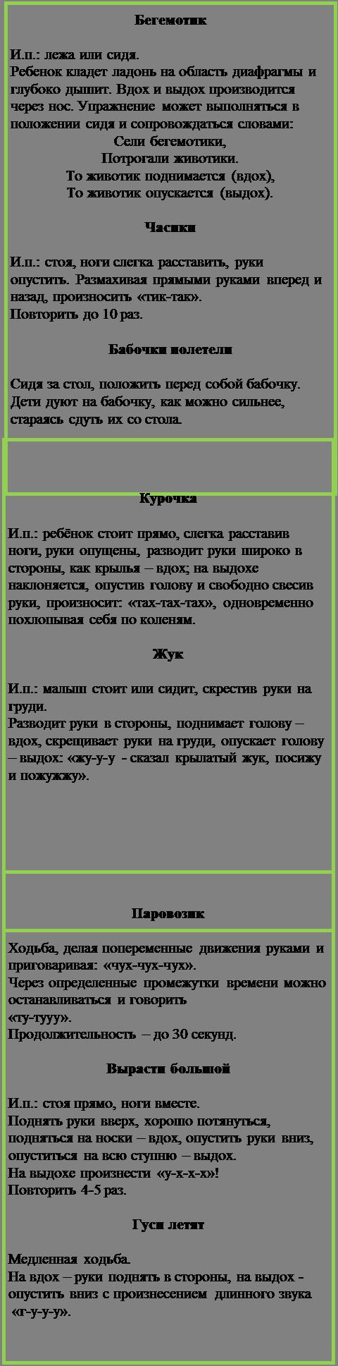 Надпись: Бегемотик  И.п.: лежа или сидя.  Ребенок кладет ладонь на область диафрагмы и глубоко дышит. Вдох и выдох производится через нос. Упражнение может выполняться в положении сидя и сопровождаться словами: Сели бегемотики,  Потрогали животики. То животик поднимается (вдох), То животик опускается (выдох).  Часики  И.п.: стоя, ноги слегка расставить, руки опустить. Размахивая прямыми руками вперед и назад, произносить «тик-так».  Повторить до 10 раз.  Бабочки полетели  Сидя за стол, положить перед собой бабочку. Дети дуют на бабочку, как можно сильнее, стараясь сдуть их со стола.
