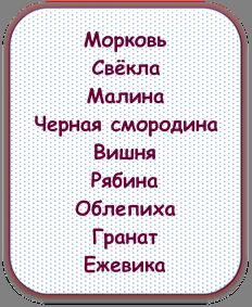 Морковь Свёкла Малина  Черная смородина Вишня Рябина Облепиха Гранат Ежевика