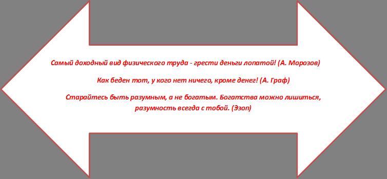 Самый доходный вид физического труда - грести деньги лопатой! (А. Морозов) Как беден тот, у кого нет ничего, кроме денег! (А. Граф) Старайтесь быть разумным, а не богатым. Богатства можно лишиться, разумность всегда с тобой. (Эзоп)