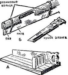 Рис. 33. Хранение пилы: А - хранение в стойке; Б - предохранение от затупления