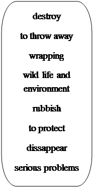 Скругленная прямоугольная выноска: destroy to throw away wrapping wild life and     environment rubbish to protect dissappear serious problems