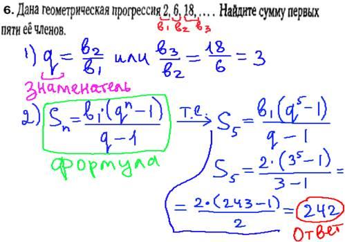 ГИА по математике 2014 - решение задачи, геометрическая прогрессия