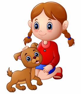 Мультяшная девочка погладила голову собаки | Премиум векторы