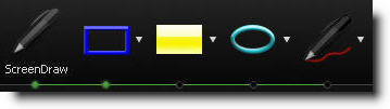 Параметры скрин маркера на Панели записи во время захвата действий с экрана