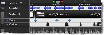 Дорожка Caption на временной шкале и ключевые кадры на ней