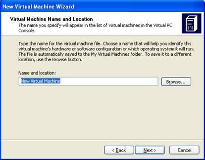 Задание имени и расположения виртуальной машины
