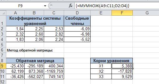 Пример решения системы уравнений методом обратной матрицы в EXCEL