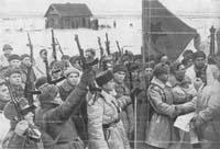 Встреча воинов 2-й ударной и 42-й армий в районе Ропши. 20 января 1944 г.