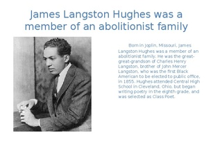 james langston hughes essay Introduction born james langston hughes in joplin, missouri, langston hughes (b 1902–d 1967) was likely the most influential writer who.
