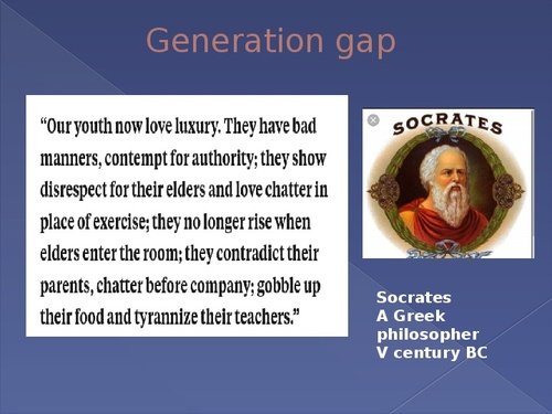 generation gap between children and elders Studies show that the generation gap isn' looking at the generation gap adult children who divorce or estrange their mom and dad.