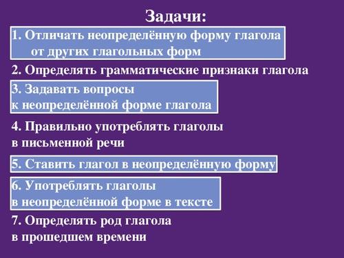 Урок русского языка в 5 классе неопределённая форма глагола