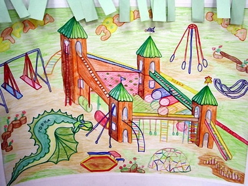 Рисунки в школу на площадку