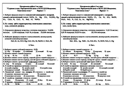 Контрольная работа строение атома и псхэ 6227