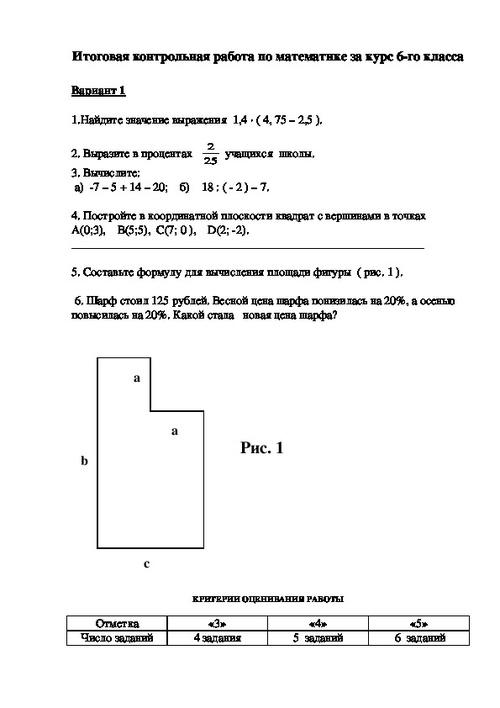 Решебник по итоговой контрольной работе по математике