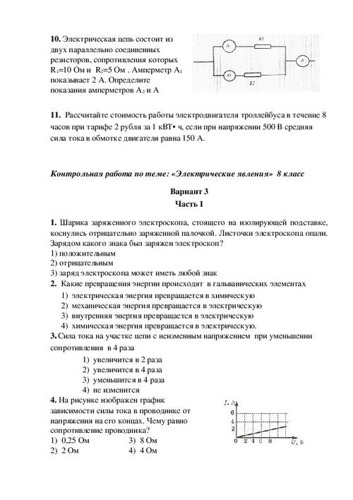 Контрольная работа 6 по теме электрические явления 3512
