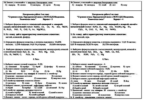 Контрольная работа строение атома и псхэ 6584