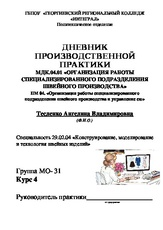 ДНЕВНИК МДК гр doc Дневник производственной практики  Дневник производственной практики