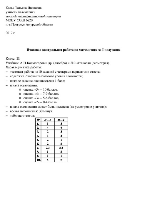 Ответы мониторинг по математике 8 класс