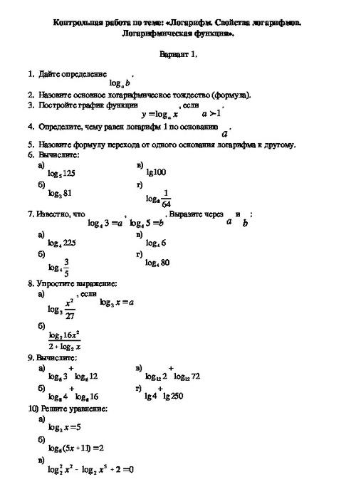 Контрольная работа номер 12 свойства логарифмов 6981
