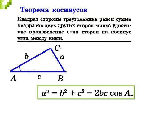 ТЕОРЕМА КОСИНУСОВ 9 КЛАСС ПРЕЗЕНТАЦИЯ СКАЧАТЬ БЕСПЛАТНО