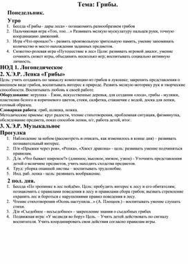 """Календарный план по теме """"Грибы"""" на неделю для  ДОУ"""
