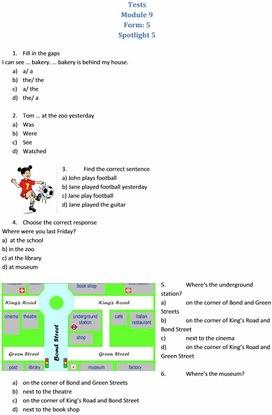 """Тесты по английскому языку для 5 класса Module 9 УМК """"Spotlight 5"""""""