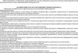 """Рабочая программа по литературному чтению 2 класс """"Школа России"""""""
