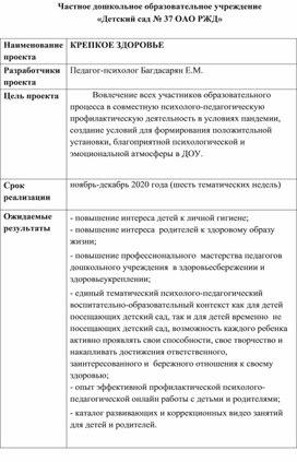 """Проект """"Крепкое здоровье"""" в детском саду"""