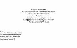Рабочая программа по литературному чтению на родном русском языке 2 класс