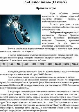 """Игра """"Слабое звено"""" 11 класс"""