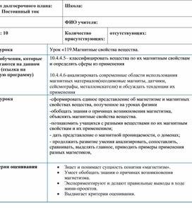 Краткосрочный план 1. Магнитные свойства вещества