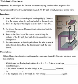 Worksheet 1.Experiment for students