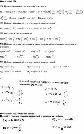 1y = tgx, y = ctgx, их свойства и графики_Приложение